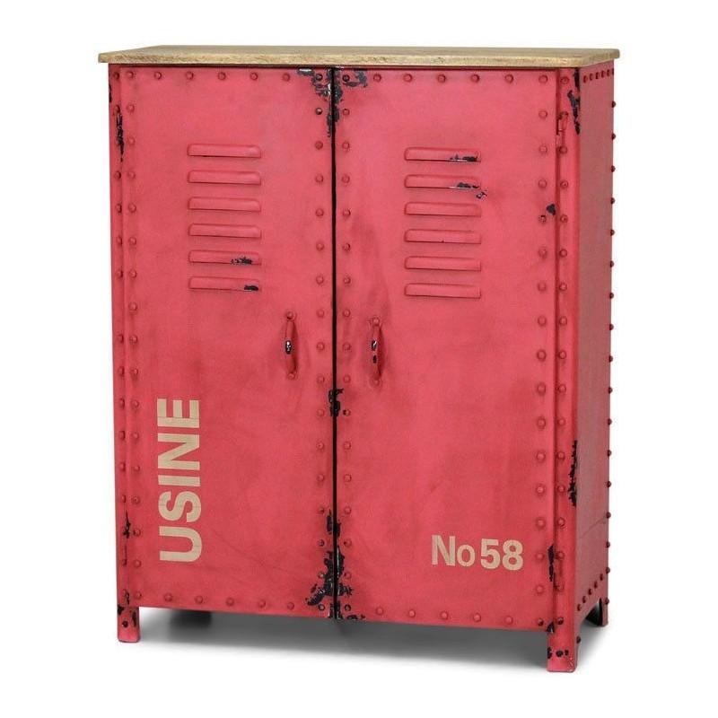 Industriële opbergkast RENEW Vintage Red
