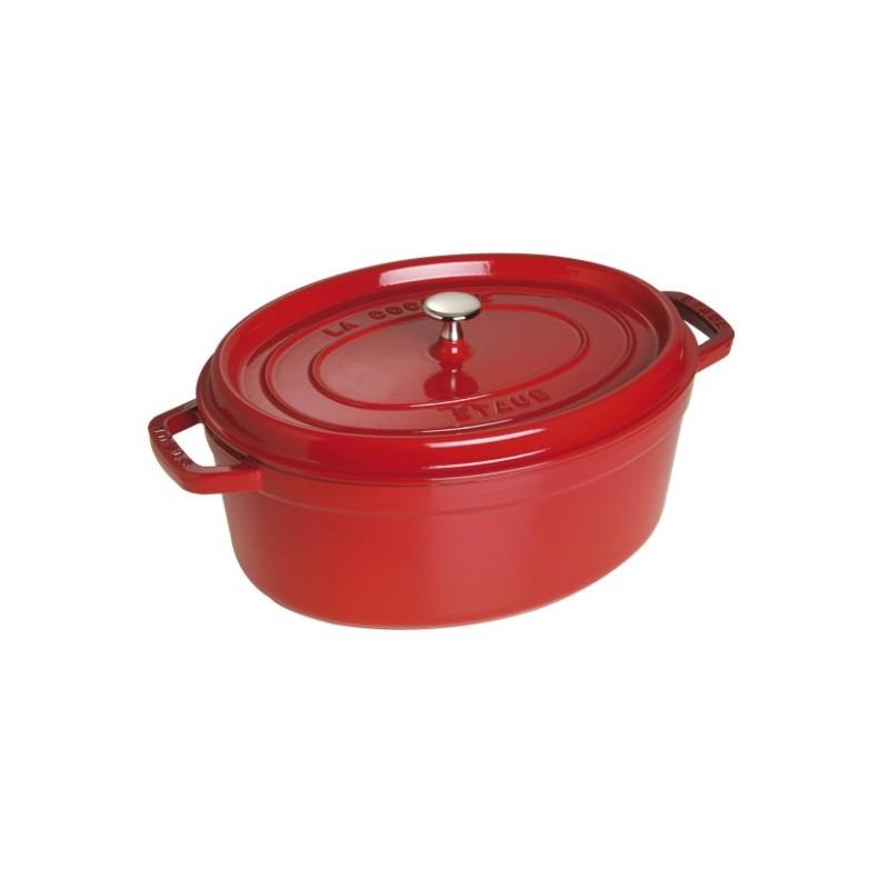 Staub gietijzeren wildpan / ovale braadpan kers rood