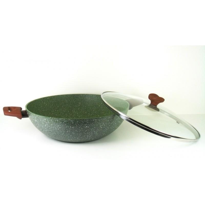 TVS Natura Induction wok met deksel, Ø32cm van gerecycled aluminum plantaardige anti-aanbaklaag