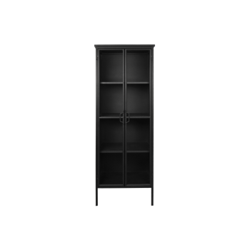 HSM Manhattan industriële vitrinekast zwart staal 180x63cm