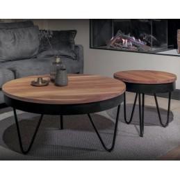 UrbanSofa Owen salontafels rond zonder onderblad, 50 en 90cm acacia