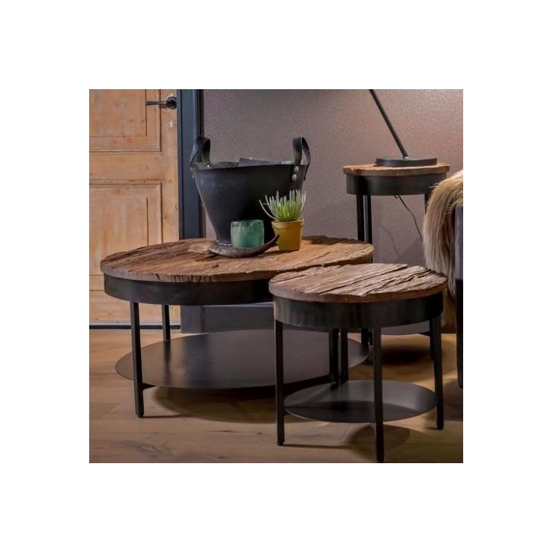 UrbanSofa Caro salontafel met onderblad en gemaakt van oud acaciahout rond, 50 en 90cm