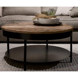 UrbanSofa Caro salontafel met onderblad rond acacia 90cm
