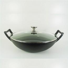 Relance wadjan / wok met glazen deksel - gietijzer 36cm glanzend zwart