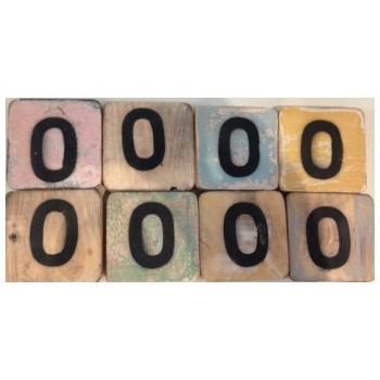 Scrabble cijfer 0 hout 6 x 6 cm