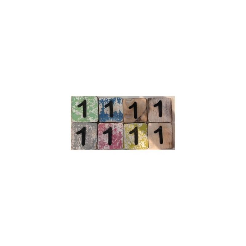Scrabble cijfer 1 hout 6 x 6 cm