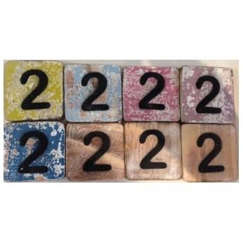 Scrabble cijfer 2 hout 6 x 6 cm