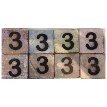 Scrabble cijfer 3 hout 6 x 6 cm