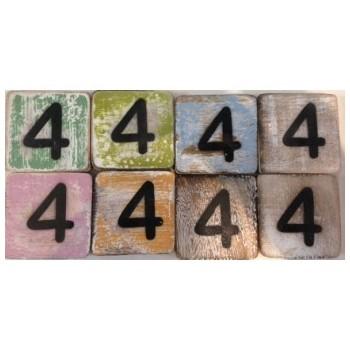 Scrabble cijfer 4 hout 6 x 6 cm