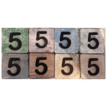 Scrabble cijfer 5 hout 6 x 6 cm