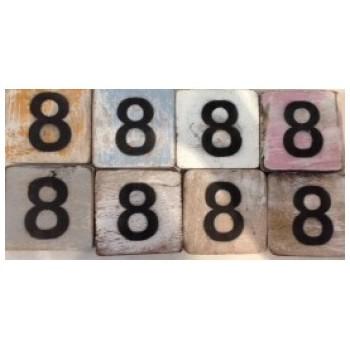Scrabble cijfer 8 hout 6 x 6 cm
