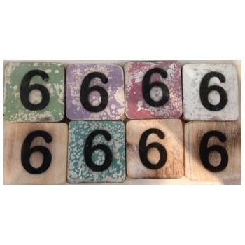 Scrabble cijfer 6 hout 6 x 6 cm