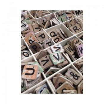 Scrabble cijfer 9 hout 6 x 6 cm