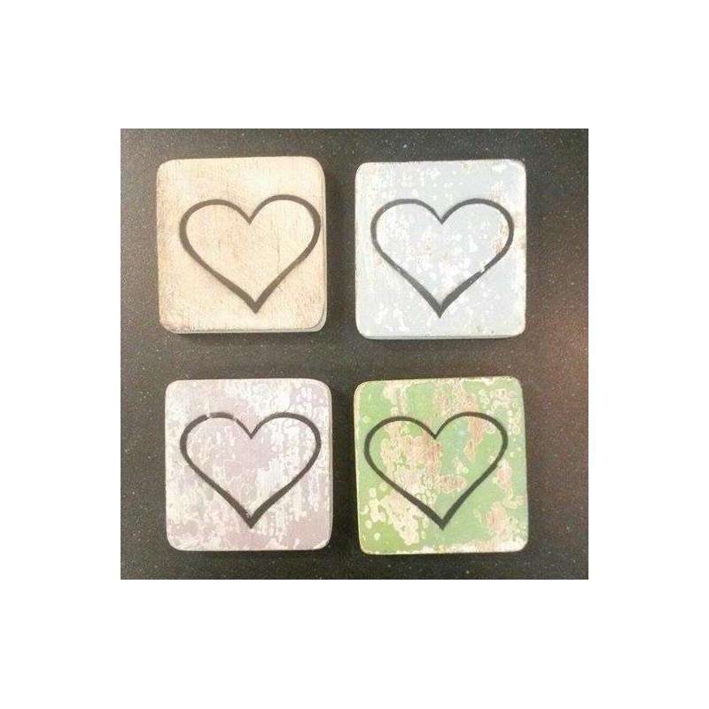 Scrabble teken 'hart omtrek' hout 6 x 6 cm