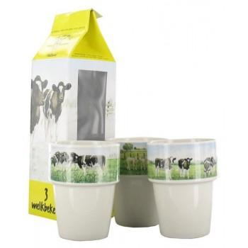 Melkbekers in melkpak 3 stuks Wiebe van der Zee