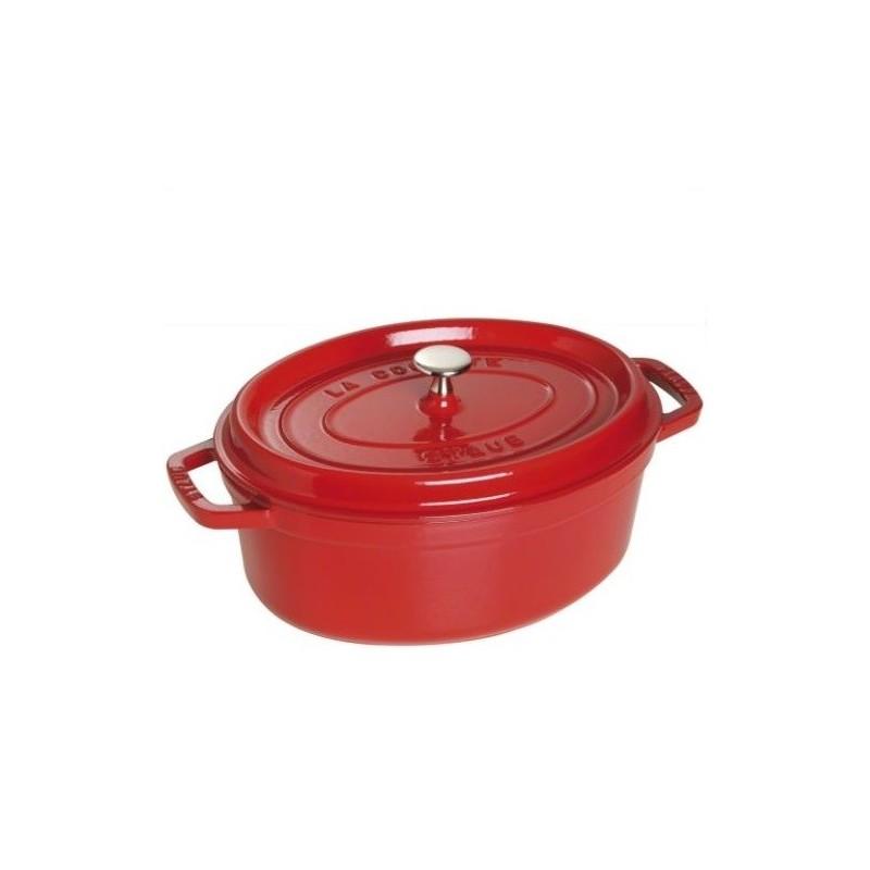 Staub braadpan rood, ovaal 33 cm