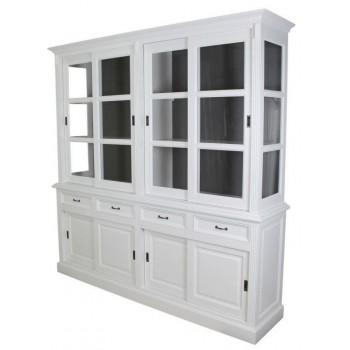 Winkel- / vitrinekast wit/grijs 4-deurs