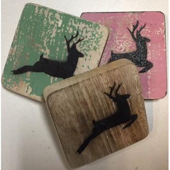 Scrabble kerst hert hout 6 x 6 cm